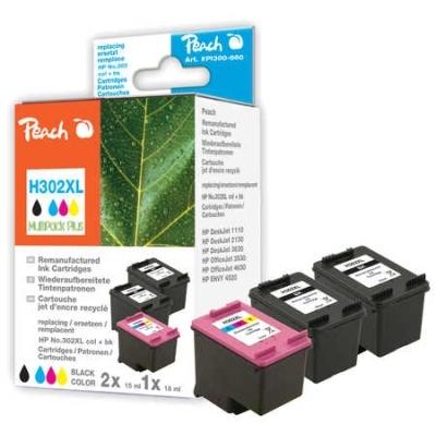 Peach  Spar Pack Plus Druckköpfe kompatibel zu Hersteller-ID: No. 302XL, F6U68AE, F6U67AE
