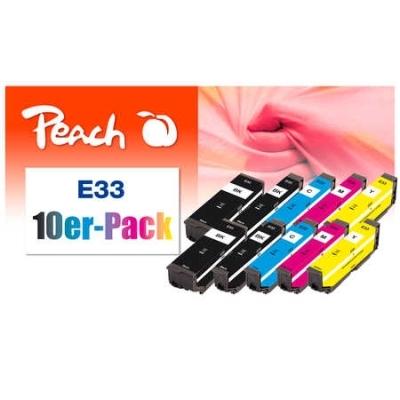 Peach  10er-Pack Tintenpatronen kompatibel zu Hersteller-ID: T3337, No. 33, C13T33374010