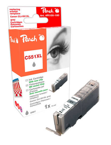 Peach XL-Tintenpatrone grau kompatibel zu - Hersteller-ID: CLI-551gyXL  (C551XL gy)